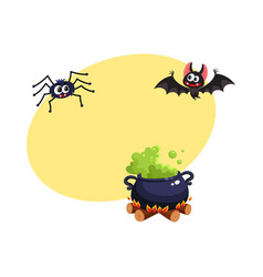 Caldron bat and spider traditional halloween vector
