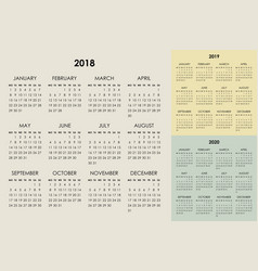 calendar 2018 2019 2020 years vector image
