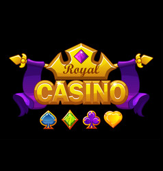 casino logo banner with golden crown and treasure vector image