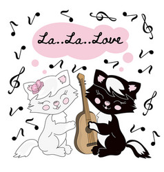 cat music valentine set vector image