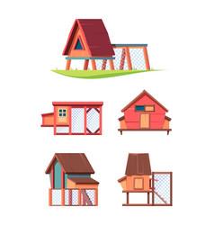 chicken coop hen comfortable house in village vector image