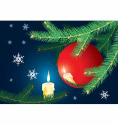 Christmas-tree branch and candle vector image