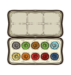 colored sketch watercolor paints box isolated vector image
