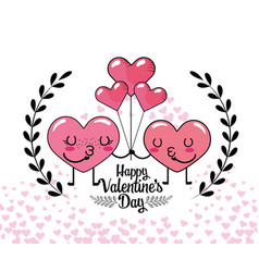 couple hearts with balloons and branches leaves vector image