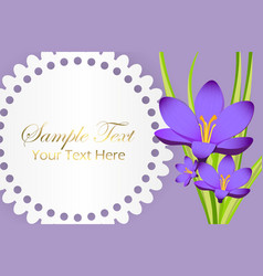 cute congratulation postcard with crocus flower vector image