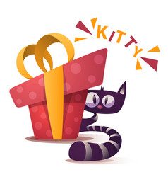 cute kitty characters with red gift vector image