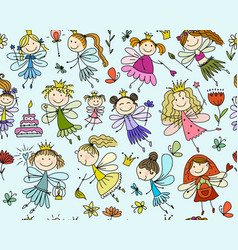 cute little fairies collection sketch for your vector image