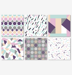 Delicate set seamless patterns in memphis style vector