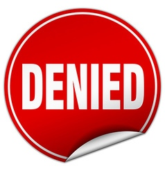 Denied round red sticker isolated on white vector