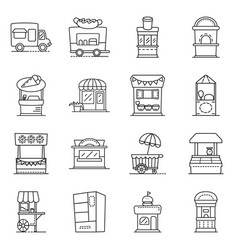 Design vending and public sign set of vector