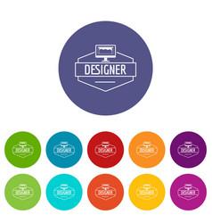 Designer icons set color vector