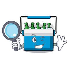 Detective freezer bag character cartoon vector