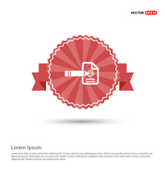 Document icon - red ribbon banner vector