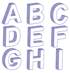 Drawing 3d letter a-i vector
