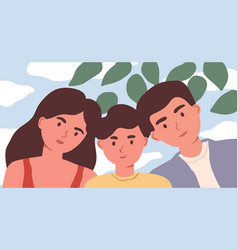 family selfie portrait mother father and child vector image