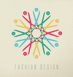 Fashion design color concept textile tools vector image