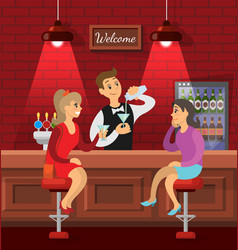female friends talking in bar barman with drink vector image
