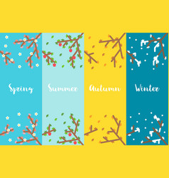 flat design 4 seasons branch set vector image