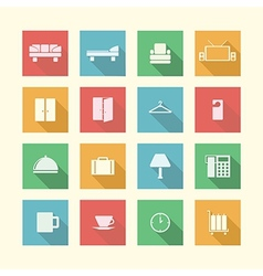 Flat icons for hotel vector