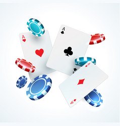 flying poker cards chips casino gambling vector image