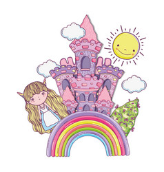 girl fantastic creature with castle in the rainbow vector image