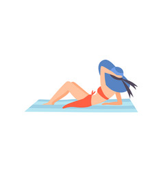 girl in red swimsuit and blue hat lying on beach vector image