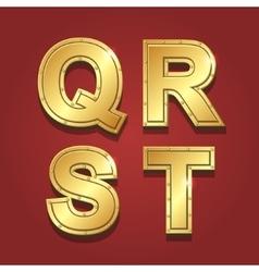Gold letters alphabet font style q r s t vector