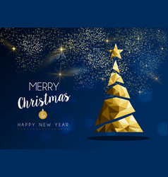 gold merry christmas and new year pine tree card vector image