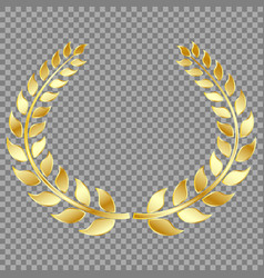 golden laurel wreath isolated on gray background vector image