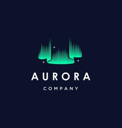 Green aurora borealis logo modern northern lights vector