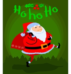 Greeting Christmas card with cute cartoon Santa vector image vector image