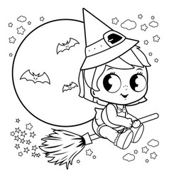 halloween witch flying with broom in the night sky vector image