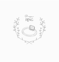 hand drawn wedding ring in floral frame vector image