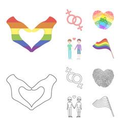 Hands feminism fingerprints gay set collection vector