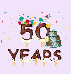 happy birthday fifty 50 year card vector image