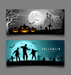 happy halloween pumpkin and zombies banners vector image