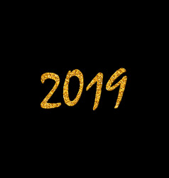 happy new year card bright gold number 2019 vector image