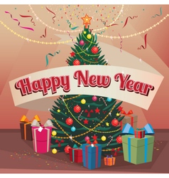 Happy New Year Christmas tree and gifts at home vector