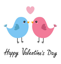 Happy valentines day two bird couple pink heart vector