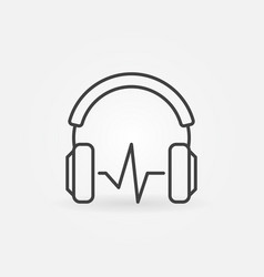 headphones with sound wave symbol or icon vector image