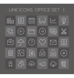 Inline Office Icons Collection vector