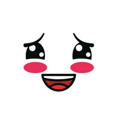 Isolated kawaii ashamed face cartoon design vector