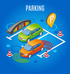 Isometric parking colored background vector