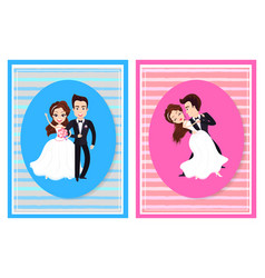 Just married husband and wife on wedding vector