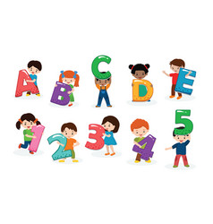 Kids alphabet children font and boy or girl vector