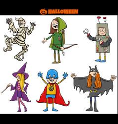 kids in halloween costumes set cartoon vector image
