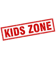 Kids zone red grunge square stamp on white vector
