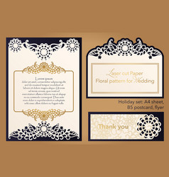 laser cutting paper for weddings flower design vector image