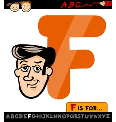 Letter f with face cartoon vector