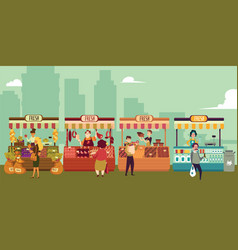 local market place with fresh food in a big city vector image